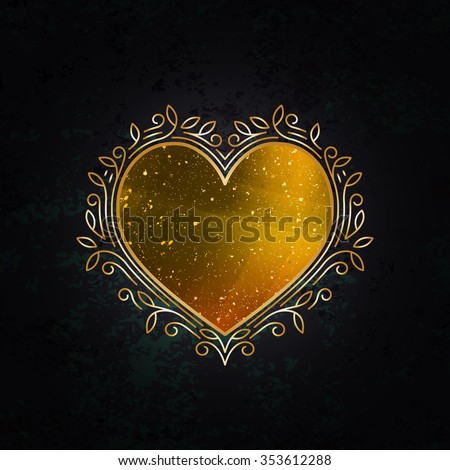 Royal Golden Frame in Shape of Heart. Valentine's Day Decorative Symbol. Gold Luxury Background. - stock vector