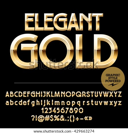 Royal golden set of alphabet letters, numbers and punctuation symbols. Vector luxury logotype with text Elegant gold  - stock vector
