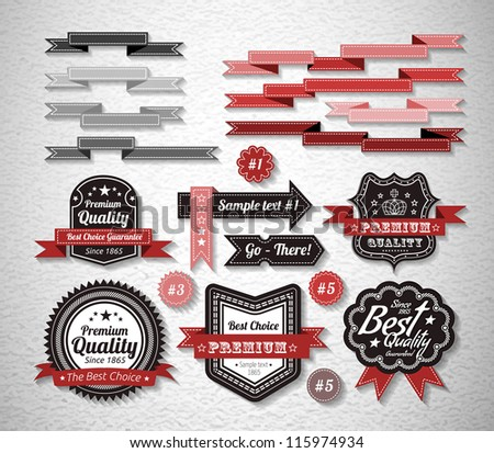 Royal Guarantee Label and Vintage Premium Quality collection. Vector illustration - stock vector