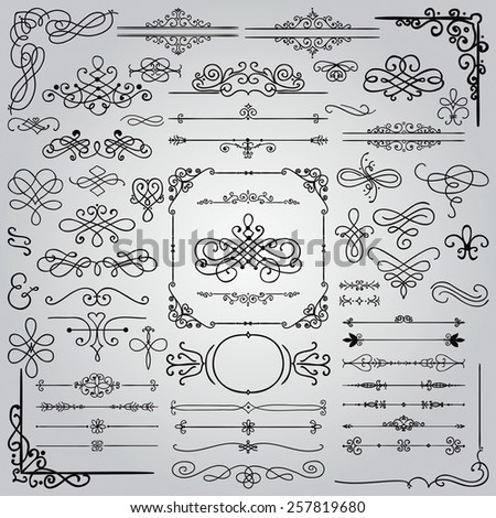 Royal Hand Drawn Doodle Design Elements. Frames, Borders, Swirls. Vector Illustration - stock vector