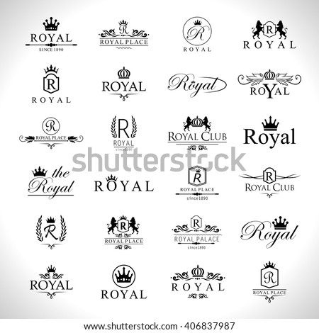 Royal Icons Set-Isolated On Gray Background-Vector Illustration,Graphic Design. Collection Of Royal Icons.Modern Concept, Royal Logotype
