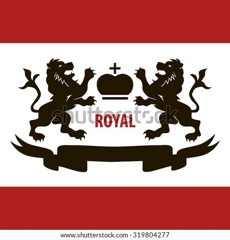 Royal illustration with two lions and crown concept poster art