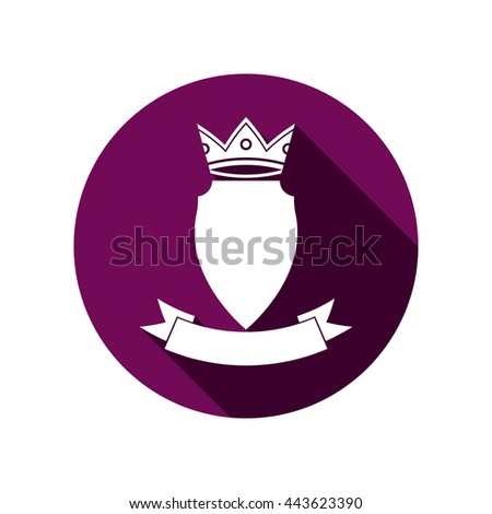 Royal insignia, security shield with a king crown isolated on white. Heraldry, imperial coat of arms. - stock vector
