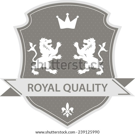 Royal label shield with two lions and crown in grey color style
