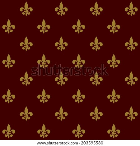 Royal Lily Fleur de Lis Seamless Pattern. Vector illustration - stock vector