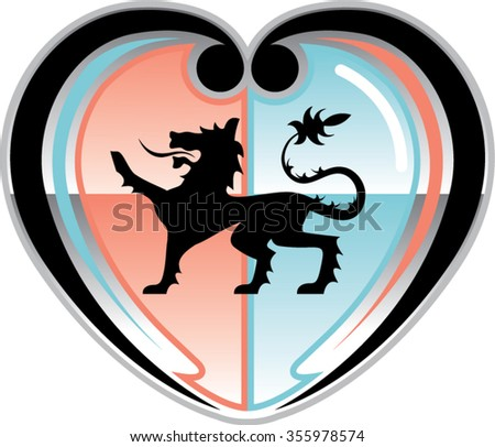 Royal lion Hearty Shield - stock vector