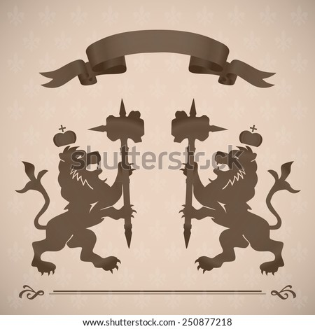 Royal lion icons with hammer and crown in vintage brown color with a tape above retro art - stock vector
