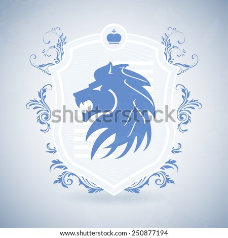 Royal lion shield icon with crown in blue color with floral art - stock vector