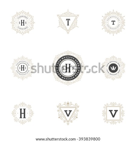 Royal Logos Design Templates Set, Flourish Calligraphic Elegant Ornament lines. Good for Luxury Labels, Crest Signs, Feminine Logos, Boutique and Monograms, Vintage Certificates. - stock vector