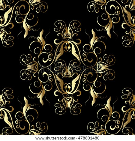 Royal Luxury Baroque Damask Floral Vector Seamless Pattern Wallpaper Illustration With Vintage Gold Decorative Antique Flowers
