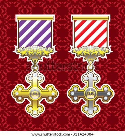 Royal Medal Vector Art Gold Silver Striped Ribbon background - stock vector
