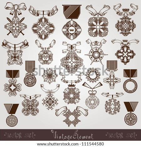royal medal vintage set - stock vector