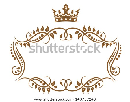 Royal medieval frame with crown isolated on white background. Jpeg (bitmap) version also available in gallery - stock vector