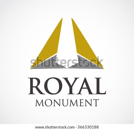 Royal monument of triangle metallic abstract vector and logo design or template property building business icon of company identity symbol concept - stock vector