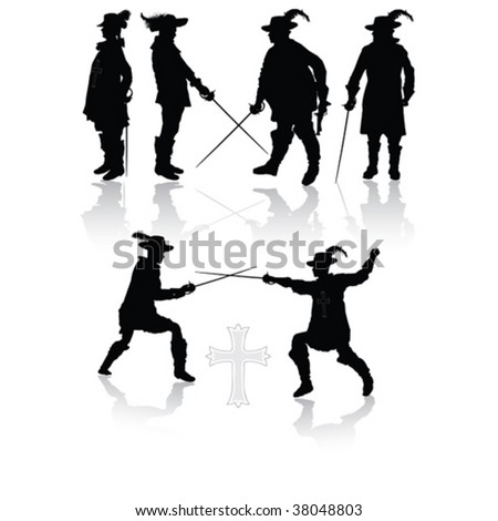 Royal musketeers vector illustration - stock vector