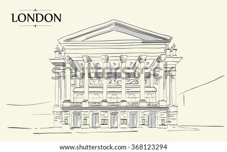 Royal Opera House London. Vector drawing, freehand vintage illustration - stock vector