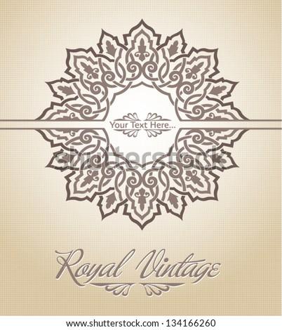Royal pattern card - stock vector