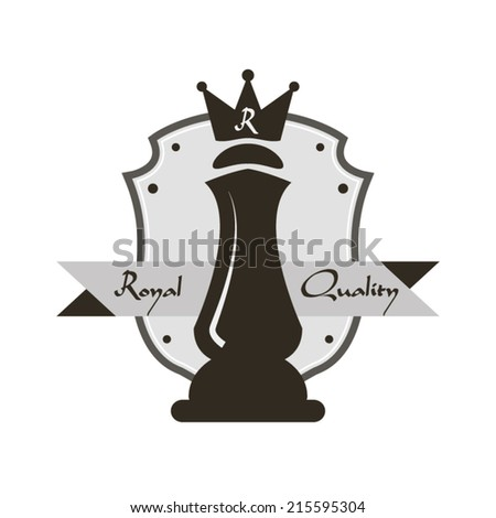 Royal quality crown logo or sign queen and shield concept design stamp - stock vector
