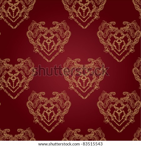 royal seamless damask pattern - stock vector