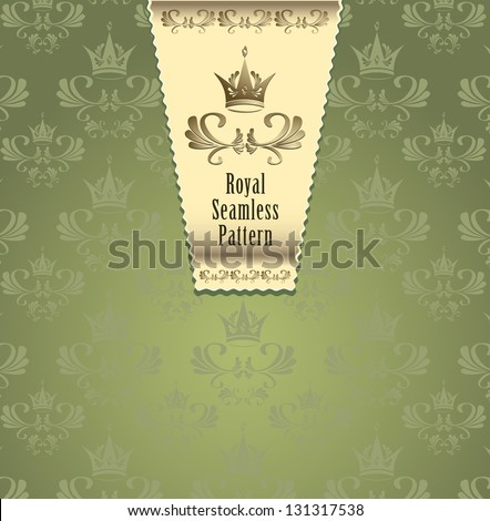 Royal seamless pattern with crown or Royal background green and gold color  for advertising something - stock vector