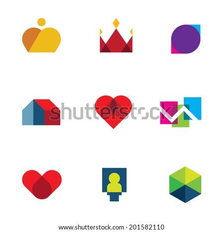 Royal shapes mosaic geometric peaces colorful vector logo icon set - stock vector