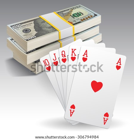 Royal straight flush playing cards poker hand in hearts and money. Vector illustration - stock vector
