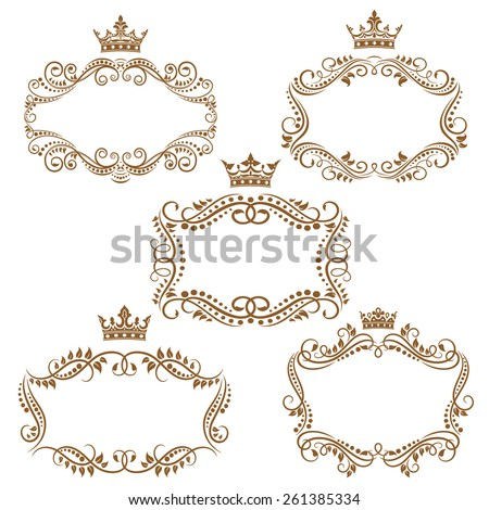 Royal vintage brown borders and frames emphasizing the crown on top isolated on white background - stock vector