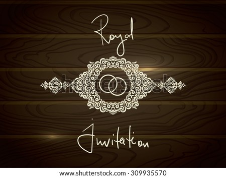 Royal Wedding FRAME with wedding rings in wood textured vector background - stock vector