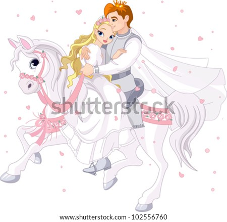 Royalty bride and groom on white horse - stock vector