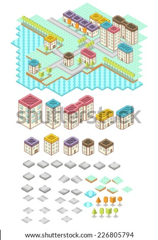 RPG Isometric Tile Collection - stock vector