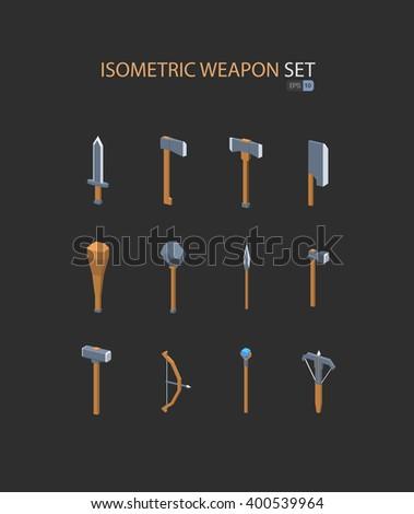 RPG weapon set isometric. Vector illustration eps 10. Isolated on dark background - stock vector