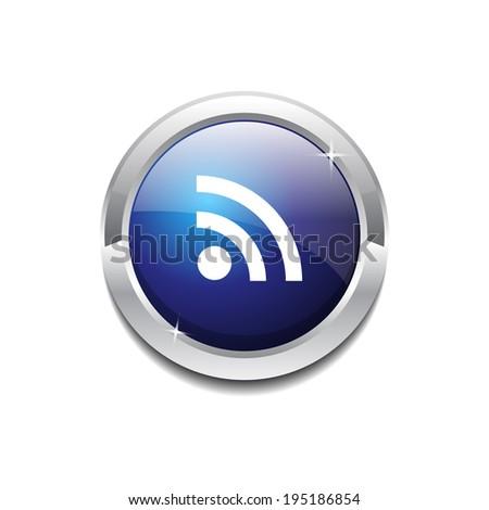 RSS Circular Vector Blue Web Icon Button - stock vector