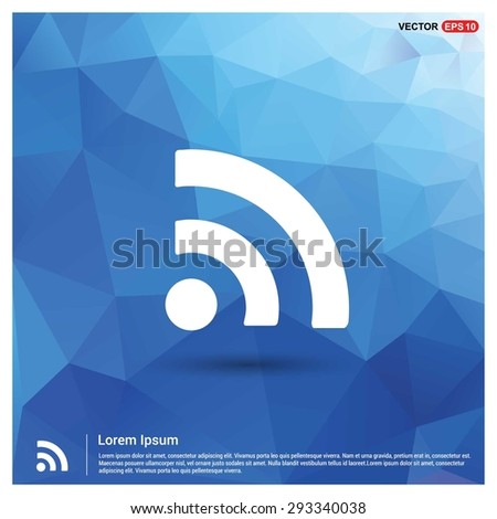 RSS icon - abstract logo type icon - blue polygonal background. Vector illustration - stock vector