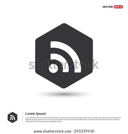 RSS icon - abstract logo type icon - hexagon black background. Vector illustration - stock vector