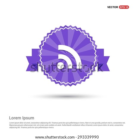 RSS icon - abstract logo type icon - Retro vintage badge and label Purple background. Vector illustration - stock vector