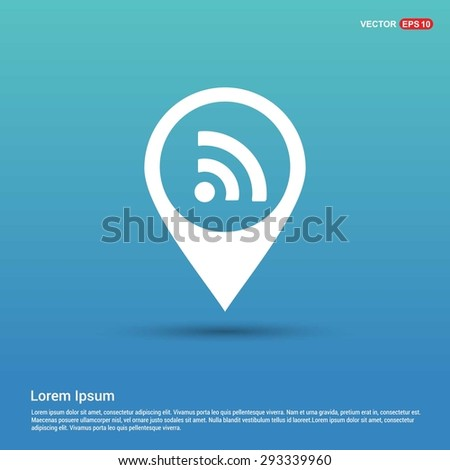 RSS icon - abstract logo type icon - white icon in map pin point blue background. Vector illustration - stock vector
