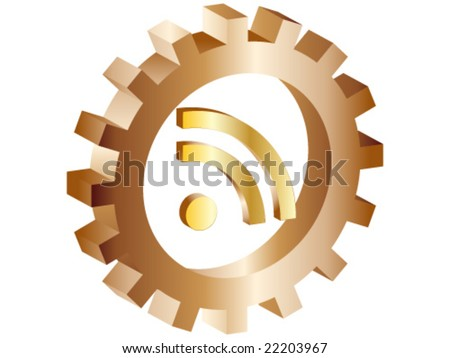 rss icon inside of gear vector illustration - stock vector