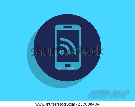 rss mobile icon - stock vector