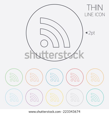 RSS sign icon. RSS feed symbol. Thin line circle web icons with outline. Vector - stock vector