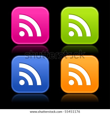 RSS sign on web 2.0 internet buttons. Colored matted rounded shapes with reflection on black background - stock vector