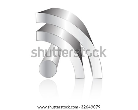 rss silver icon - stock vector