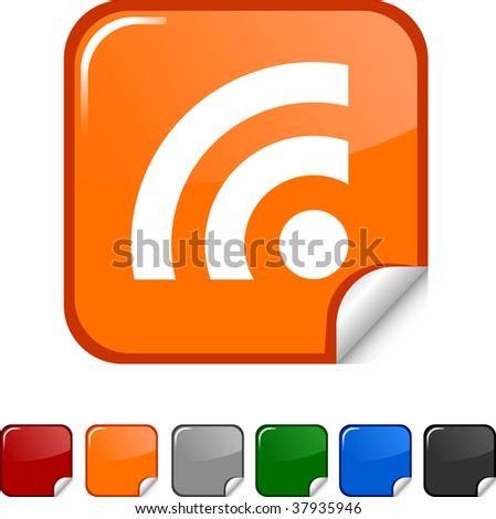 Rss  sticker icon. Vector illustration.