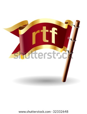RTF text file extension symbol on vector royal flag button suitable for print, web, or promotional use