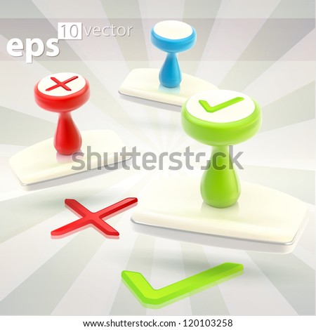 Rubber glossy stamps, red for no, green yes and empty copyspace blue, eps10 vector clip art icon emblem - stock vector