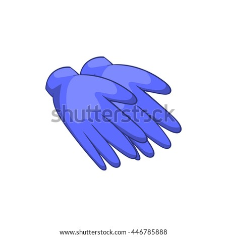 Rubber gloves icon in cartoon style isolated on white background. Hand protection symbol