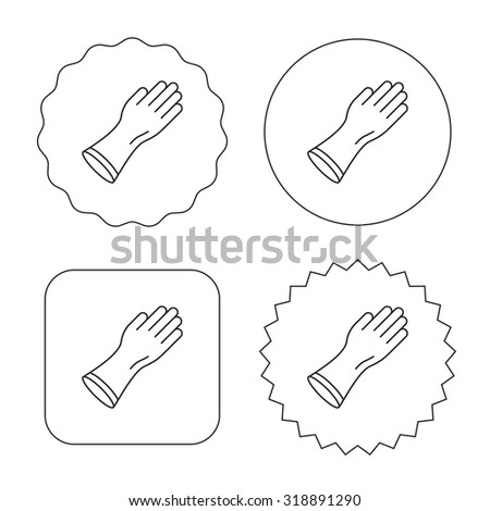 Rubber gloves icon. Latex hand protection sign. Housework cleaning equipment symbol. Flat circle, star and emblem buttons. Labels design. Vector