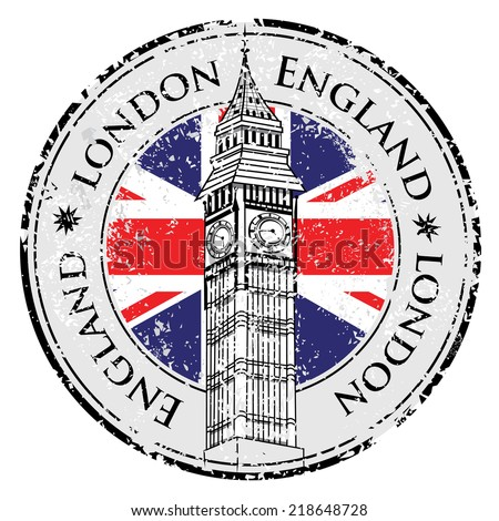 Rubber grunge stamp London Great Britain, Big Ben tower and British flag vector - stock vector