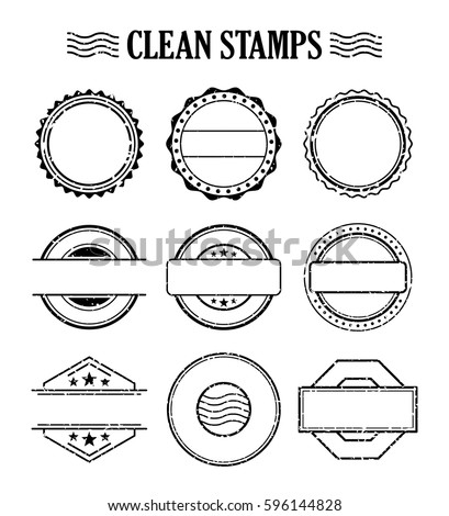 Rubber ink stamp set. Postage and mail delivery. Empty template vector design element.
