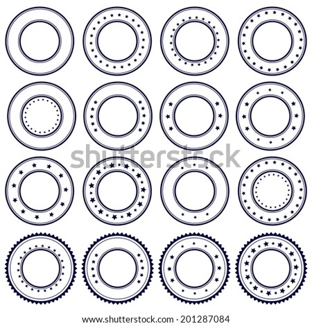 Rubber postal stamps icons, set, graphic design elements, dark blue isolated on white background, vector illustration. - stock vector