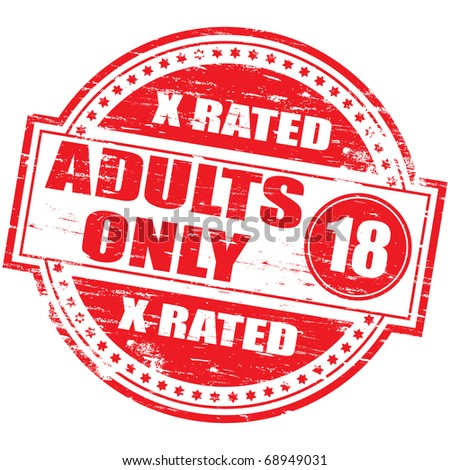"""Rubber stamp illustration showing """"ADULTS ONLY"""" text and 18 symbol - stock vector"""